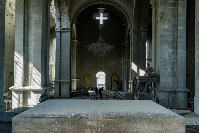 11 October 2020, Azerbaijan, Shusha: A view inside the damaged Holy Savior Cathedra.