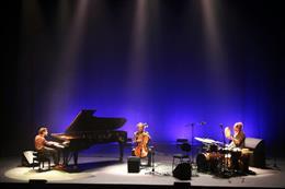 Pla general de Marco Mequida durant el concert al teatre Kursaal de Manresa. Imatge del 17 d'octubre del 2020. (Vertical)