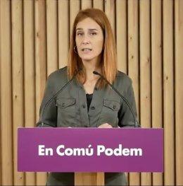 La líder dels comuns al Parlament, Jéssica Albiach, en roda de premsa telemàtica.