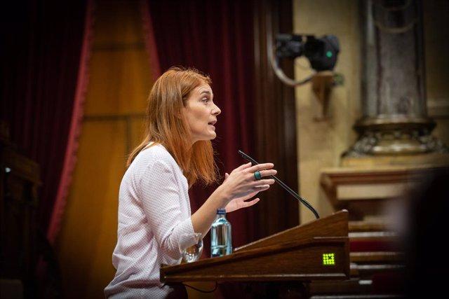 La presidenta del Grup Parlamentari de Catalunya En Comú Podem, Jéssica Albiach, en un ple al Parlament. Barcelona, Catalunya, (Espanya), 6 d'octubre del 2020