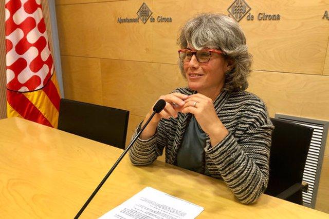 La regidora de Guanyem, Cristina Andreu, durant la roda de premsa d'aquest 19 d'octubre del 2020. (Horitzontal)