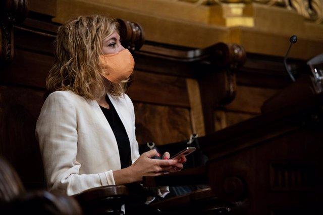 La regidora d'ERC a l'Ajuntament de Barcelona, Elisenda Alamany, en un ple ordinari del Consell Municipal de l'Ajuntament de Barcelona, Catalunya (Espanya), 24 de juliol del 2020.