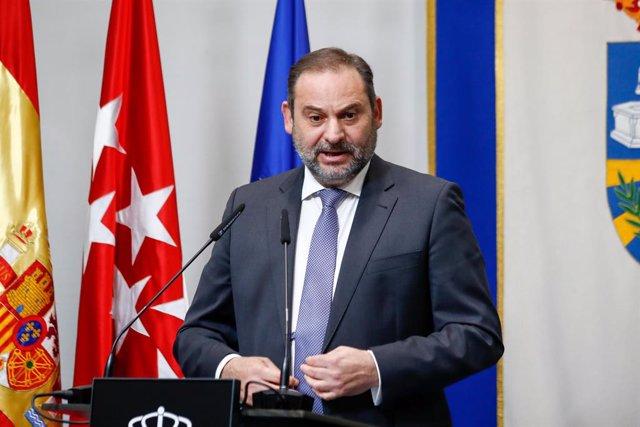 El ministre de Transports, Mobilitat i Agenda Urbana, José Luis Ábalos, en un acte a Fuenlabrada el 16 d'octubre del 2020.
