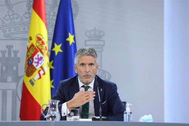 El ministro de Interior, Fernando Grande-Marlaska, en una comparecencia en Moncloa