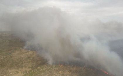 Baja a nivel 0 el fuego en Carbajosa de Alba (Zamora) en el que trabajan medios aéreos y terrestres