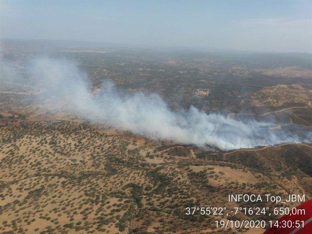 Zona del incendio en Rosal de la Frontera (Huelva).