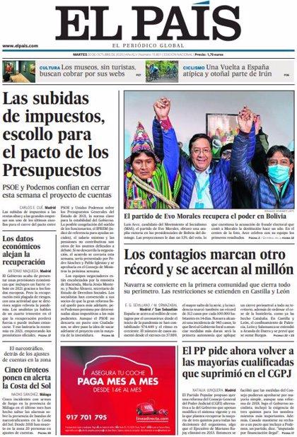Las portadas de los periódicos del martes 20 de octubre