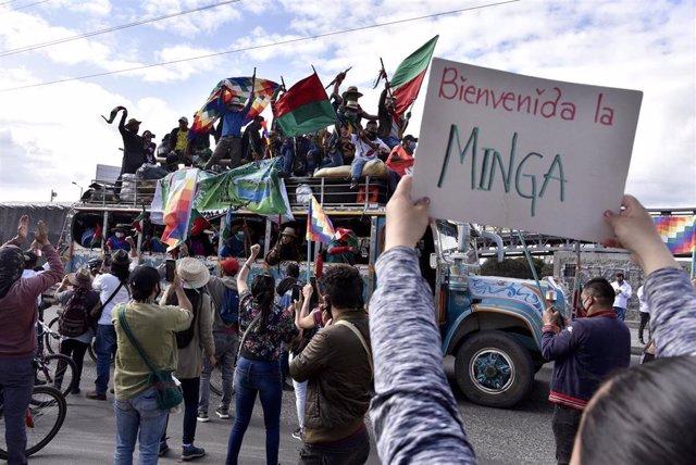 Imagen de la llegada de la 'minga' a Bogotá.