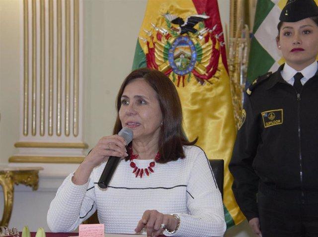La ministra interina de Asuntos Exteriores de Bolivia, Karen Longaric.