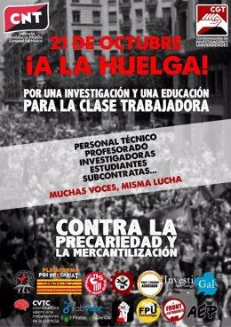 Cartel de convocatoria de huelga de las universidades y centros de investigación para este miércoles 21 de octubre