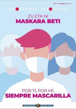 Cartel de Osakidetza recomendando el uso de mascarilla