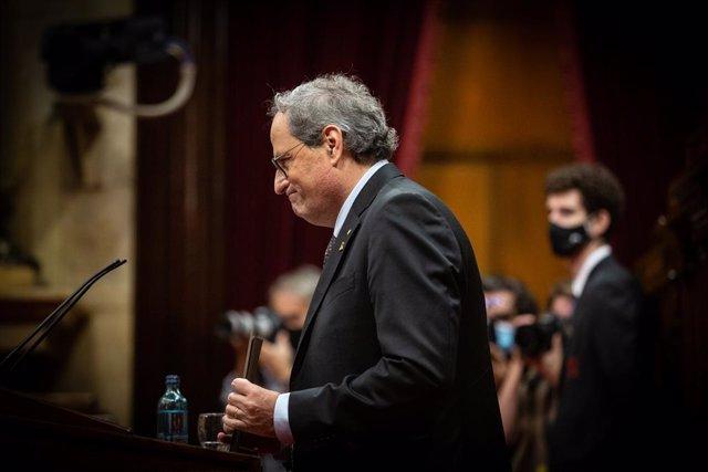 L'expresident de la Generalitat Quim Torra en una sessió plenària al Parlament. Barcelona, Catalunya (Espanya), 30 de setembre del 2020.