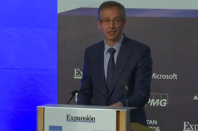 El gobernador del Banco de España, Pablo Hernández de Cos, en el XI Encuentro del sector financiero de KPMG y Expansión.