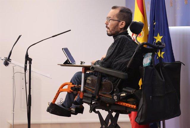 El portaveu d'Unides Podem al Congrés, Pablo Echenique.