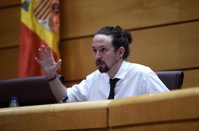 El vicepresidente segundo y ministro de Derechos Sociales y Agenda 2030, Pablo Iglesias, comparece en el Senado en Comisión para las Políticas Integrales de la Discapacidad, en Madrid (España), a 8 de octubre de 2020.