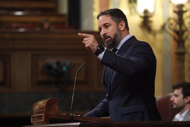 El presidente de Vox, Santiago Abascal, interviene desde la tribuna en una sesión plenaria en el Congreso