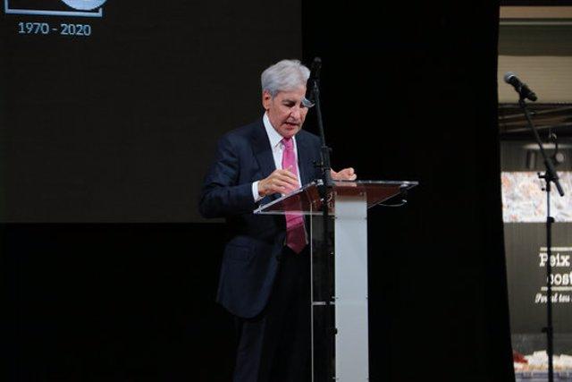 El president de la Federació d'Hostaleria de les Comarques de Girona, Antoni Escudero, durant l'acte del 50è aniversari de Gros Mercat a Figueres aquest 20 d'octubre del 2020. (Horitzontal)