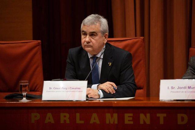 Compareixença de l'ex-secretari general d'Interior, Cèsar Puig, en la comissió del Parlament de Catalunya sobre els atemptats del 17 d'agost.