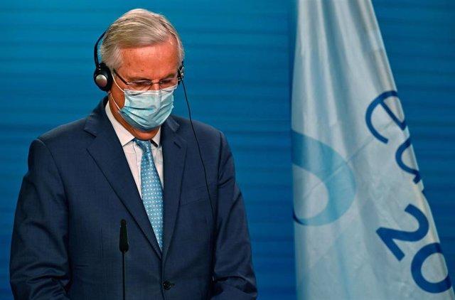 Michel Barnier, el negociador jefe europeo para el Brexit, en una comparecencia en Berlín