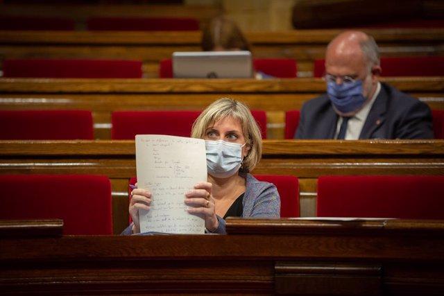 La consellera de Salut de la Generalitat, Alba Vergés, en un ple al Parlament. Barcelona, Catalunya, (Espanya), 6 d'octubre del 2020.