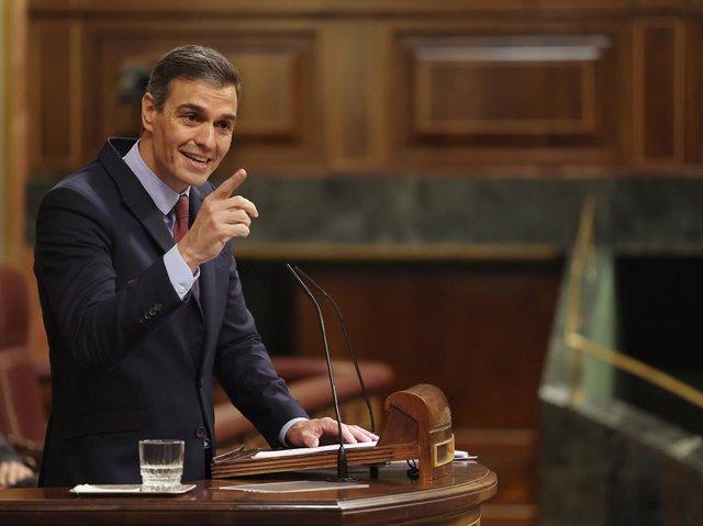 El president del Govern central, Pedro Sánchez, en el debat de la moció de censura de Vox.