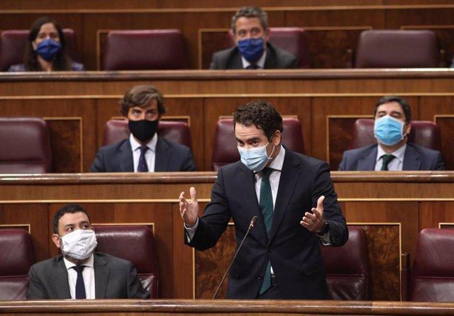 El portaveu parlamentari del PP, Teodoro García Egea, intervé durant una nova sessió de control al govern al Congrés dels Diputats. Madrid, (Espanya), 30 de setembre de 2020.