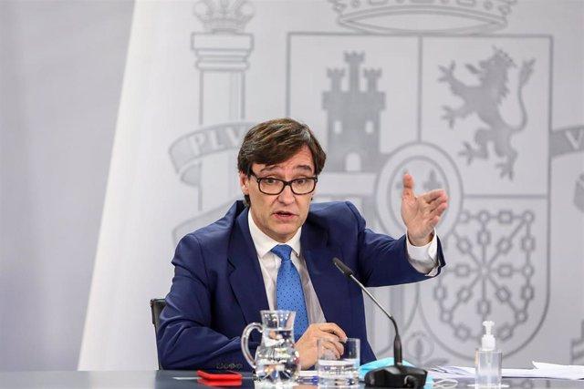 El ministro de Sanidad, Salvador Illa, comparece en rueda de prensa en Moncloa para informar de la evolución de la pandemia, en Madrid (España), a 13  de octubre de 2020.