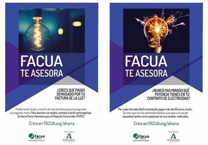 Facua Andalucía lanza una campaña para ayudar a los consumidores a reducir sus facturas de suministros