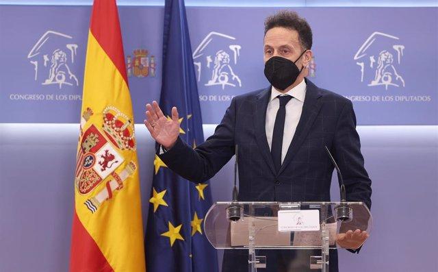 El portavoz adjunto de Ciudadanos en el Congreso de los Diputados, Edmundo Bal, interviene en la rueda de prensa posterior a la Junta de Portavoces celebrada en el Congreso de los Diputados, en Madrid, (España), a 20 de octubre de 2020.
