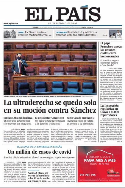 Las portadas de los periódicos del jueves 22 de octubre