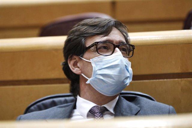 El ministre de Sanitat, Salvador Illa, en una sessió de control al Senat. Madrid (Espanya), 20 d'octubre del 2020.