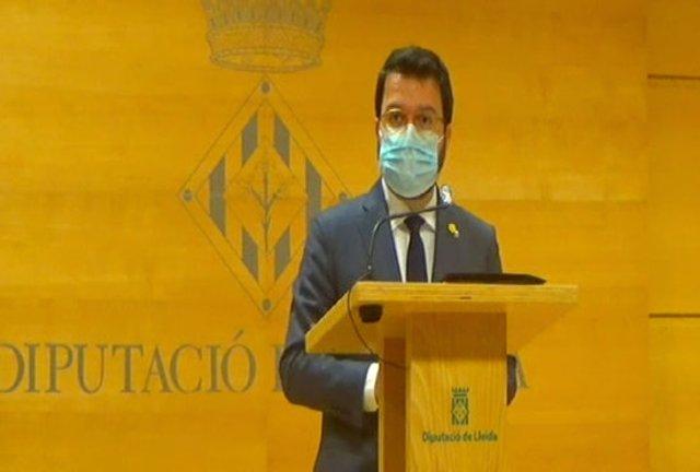 Captura de pantalla de la intervenció del vicepresident amb funcions de president, Pere Aragonès, a la Diputació de Lleida, el 22 d'octubre del 2020. (Horitzontal)