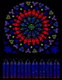 Recreación artística del rosetón norte de la catedral de Notre-Dame de Paris, hecho con neuronas, células progenitoras, y otros linajes celulares tratadas con tinciones fluorescentes de distintos colores, que muestran características de rosetas tumorales