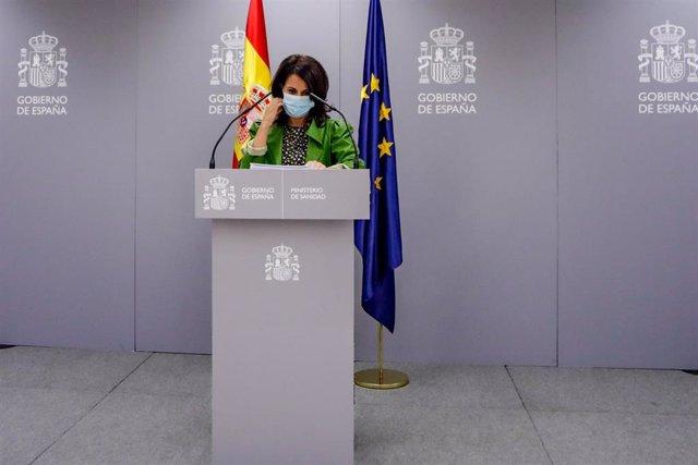 La Secretaria de Estado de Sanidad, Silvia Calzón, a su llegada para ofrecer una rueda de prensa para informar del seguimiento de la pandemia del Covid-19, en el Ministerio de Sanidad, en Madrid (España) a 24 de septiembre de 2020.