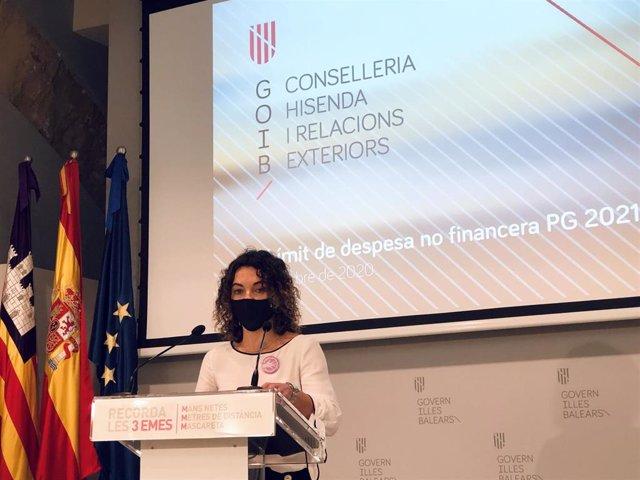 La consellera de Hacienda, Rosario Sánchez, presenta el techo de gasto para 2021.