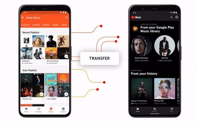 Transferencia de Google Play Música (izquierda) a YouTube Música (derecha)