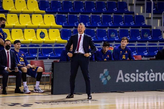 Sarunas Jasikevicius, Head coach of Fc Barcelona during the Turkish Airlines EuroLeague match between  Fc Barcelona and Panathinaikos OPAP  at Palau Blaugrana on October 15, 2020 in Barcelona, Spain.