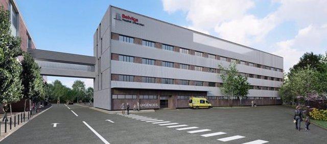 Imatge virtual del futur edifici annex a l'Hospital de Bellvitge construït amb motiu de la pandèmia de la covid-19. Imatge publicada el 22 d'octubre del 2020 (horitzontal)