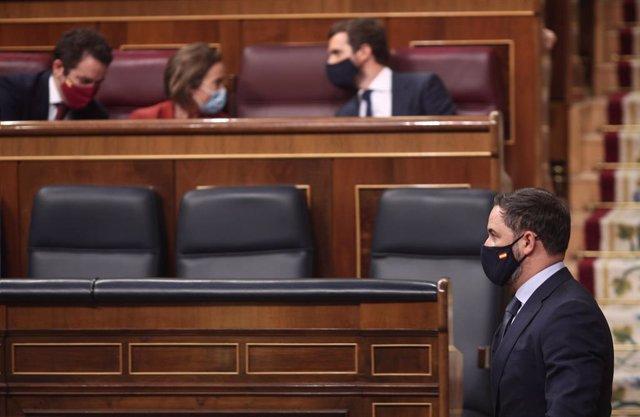 El president de Vox, Santiago Abascal, passa per davant de Casado en el debat de la moció de censura