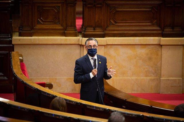 El conseller d'Empresa, Ramón Tremosa, intervé en el ple del Parlament. Barcelona, Catalunya, (Espanya), 9 de setembre del 2020.