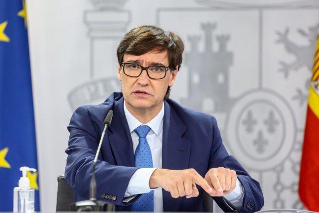 El ministro de Sanidad, Salvador Illa, comparece en rueda de prensa en Moncloa para informar de la evolución de la pandemia, en Madrid (España), a 22 de octubre de 2020.