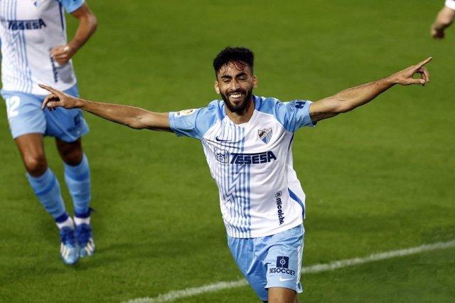 Juan Rivas marca un gol con el Málaga en la Rosaleda