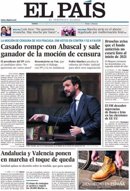 Las portadas de los periódicos del viernes 23 de octubre