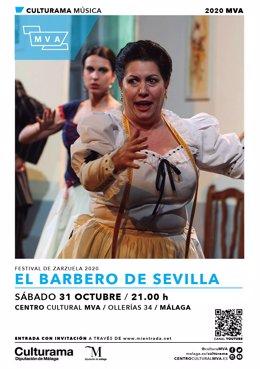 Cartel de 'El barbero de Sevilla' que se pone en escena el 31 de octubre en el MVA de la Diputación de Málaga