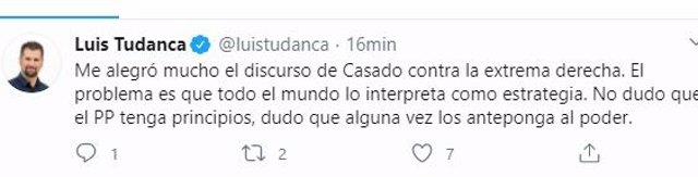 Tuit de Luis Tudanca sobre el discurso de Casado.