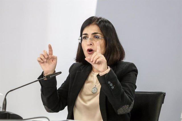 La ministra de Política Territorial y Función Pública, Carolina Darias, comparece en rueda de prensa en Moncloa para informar de la evolución de la pandemia, en Madrid (España), a 22 de octubre de 2020.