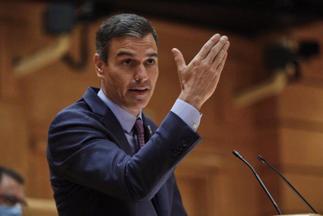 El president del Govern central, Pedro Sánchez, compareix en el Ple del Senat.