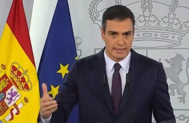 Pedro Sánchez realiza una declaración institucional en Moncloa sobre la pandemia