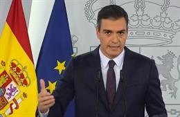 Pedro Sánchez fa una declaració institucional a La Moncloa sobre la pandèmia.