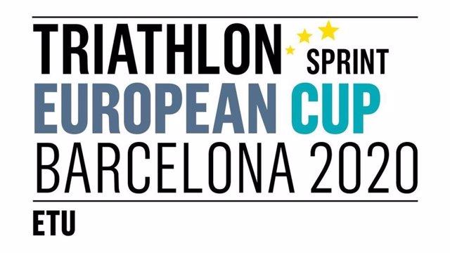 Cartel de la Copa de Europa de Triatlón 2020, que se celebrará este domingo en Barcelona